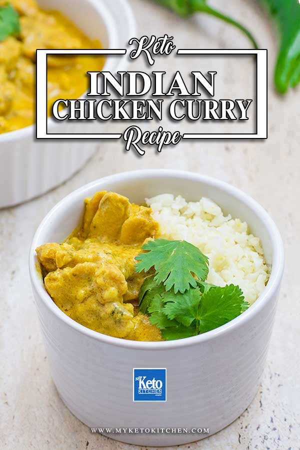 Keto Indian Chicken Curry in a white dish