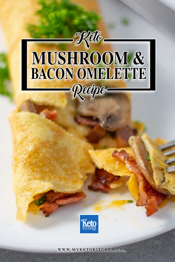 Mushroom & Bacon Folded Omelette - easy keto breakfast recipe