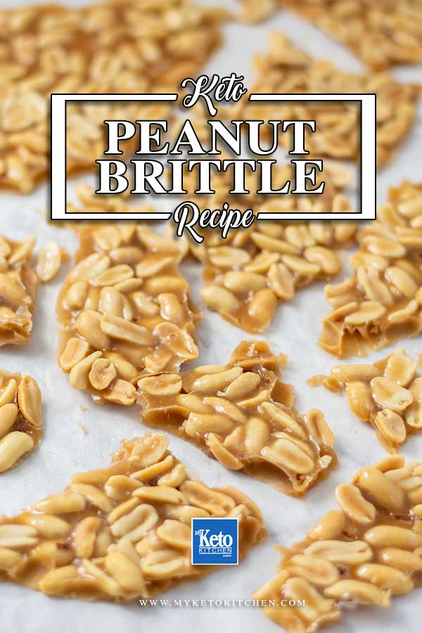 Keto Peanut Brittle Recipe - delicious sugar-free candy recipe on a sheet ready to eat