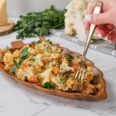 Crispy Roasted Cauliflower with Cheese