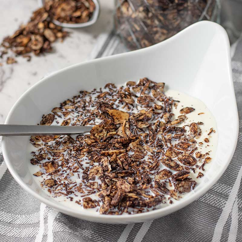 Keto Chocolate Almond Granola - easy breakfast cereal recipe