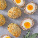 Keto Scotch Eggs - delicious sausage wrapped egg recipe