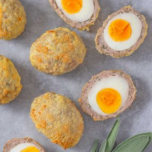 Keto Scotch Eggs - delicious sausage wrapped egg recipe