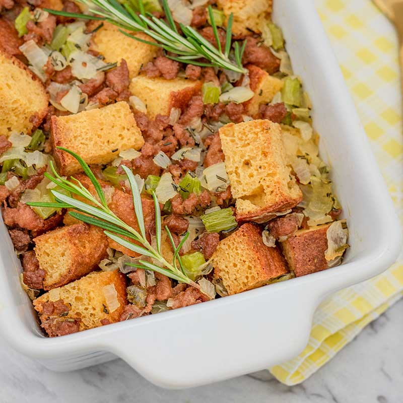 Keto Sausage & Herb Stuffing - easy dressing recipe