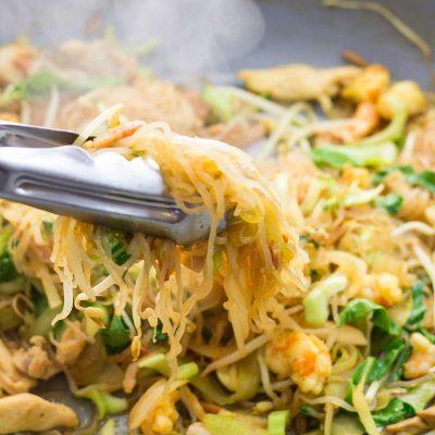 Keto Singapore Noodles – Combination Chicken, Bacon & Shrimp Recipe