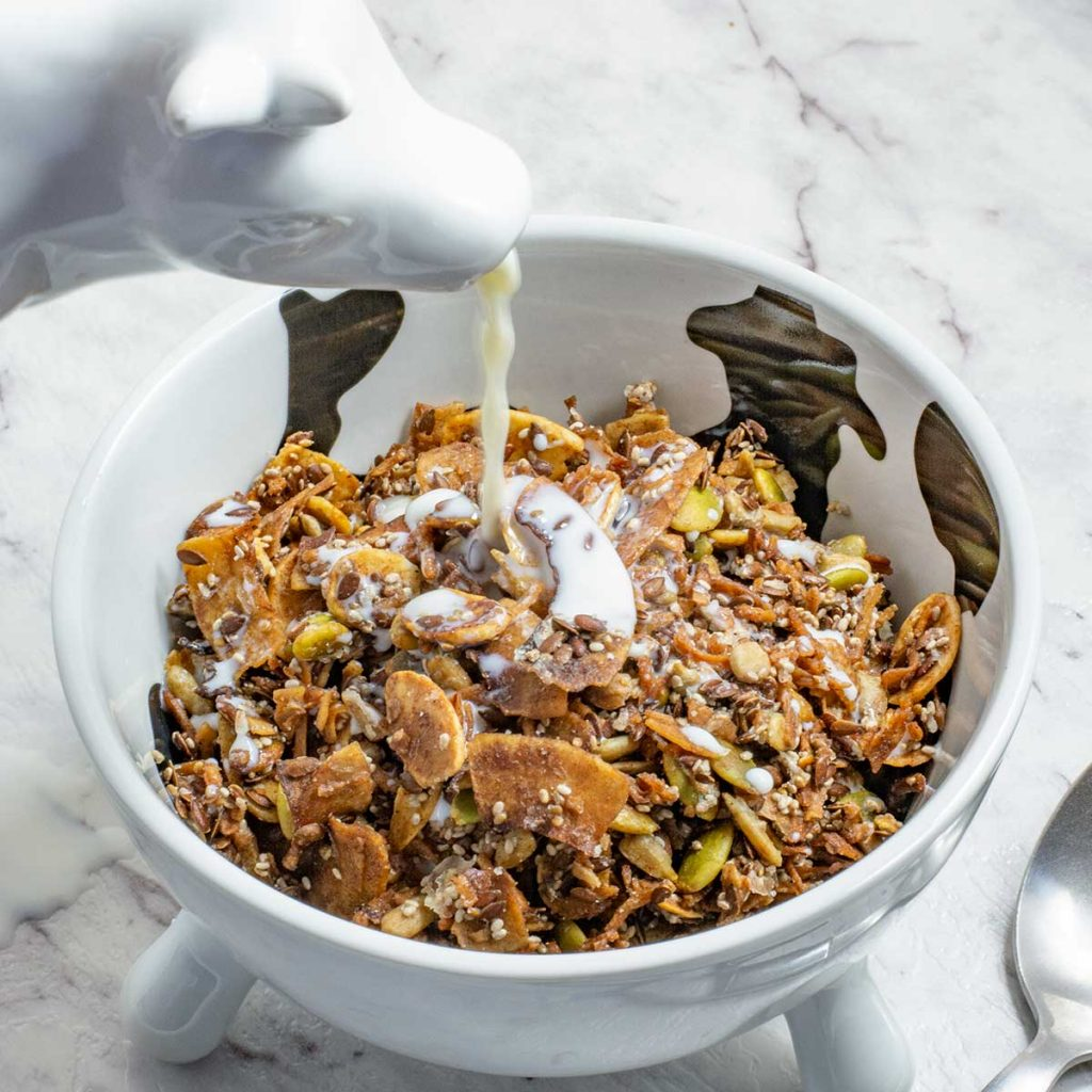 Keto Cinnamon Crunch Cereal in a bowl
