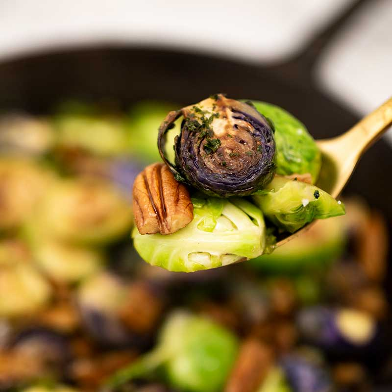 How to make Keto Maple Pecan Brussels Sprouts - easy side dish recipe