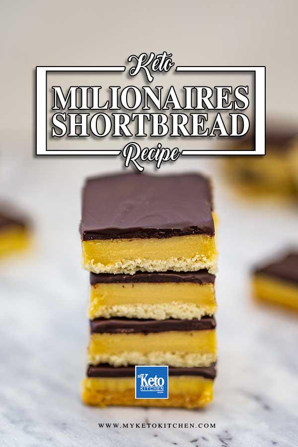 Keto Caramel Shortbread Bars - sugar free millionaires slice recipe