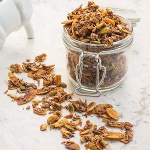 Keto Cinnamon Crunch Cereal in a jar