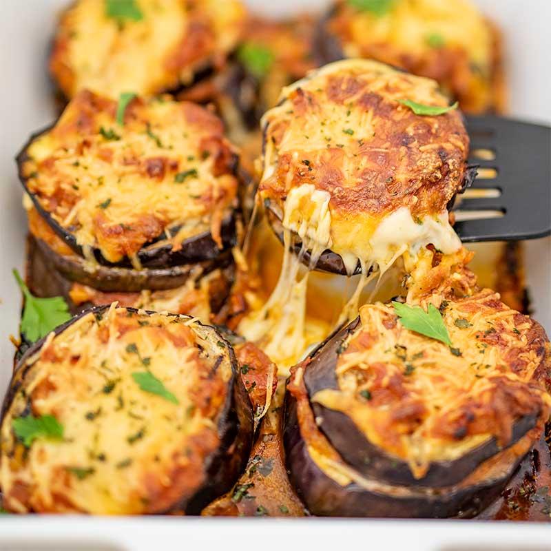 Keto Eggplant Parmesan - easy keto vegetarian recipe