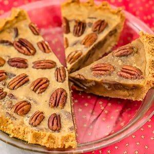 Keto pecan pie slices ready to eat