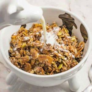bowl of keto breakfast cereal