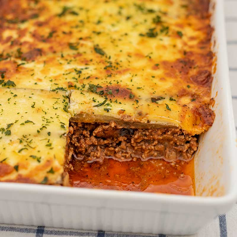 Image of the cooked Keto Moussaka with a serving removed