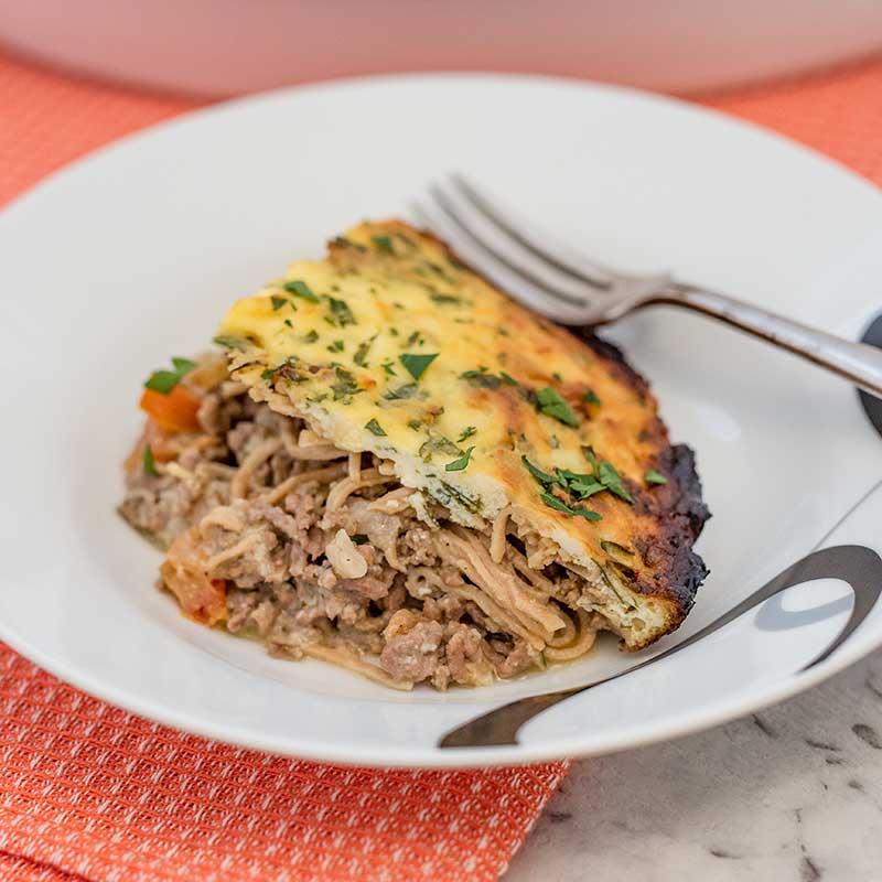 Keto Creamy Spaghetti Casserole - easy ground beef recipe
