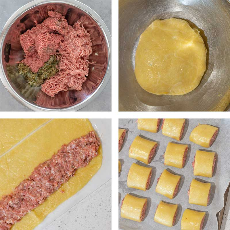 Image shows the steps of making a keto sausage rolls. It include the meat mixture in a bowl, the dough in a bowl, the meat mixture on the rolled dough, and the raw keto sausage rolls