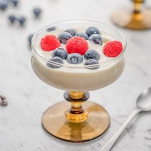 Glass filled with keto vanilla frozen yogurt and topped with blueberries and raspberries