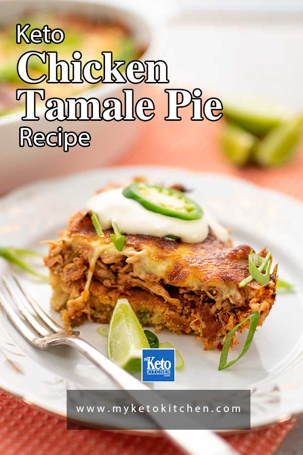 A slice to Keto Tamale Pie on a white plate