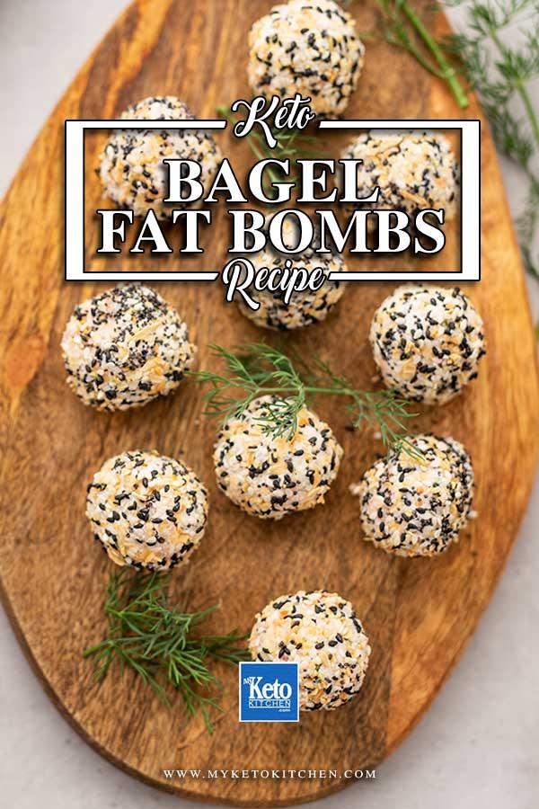 Keto Bagel Fat Bombs on a wooden board