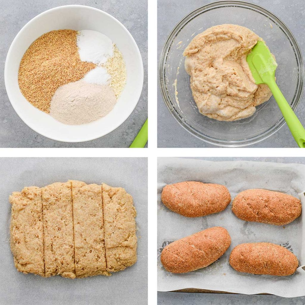 A collage of images showing the steps to make keto sub rolls