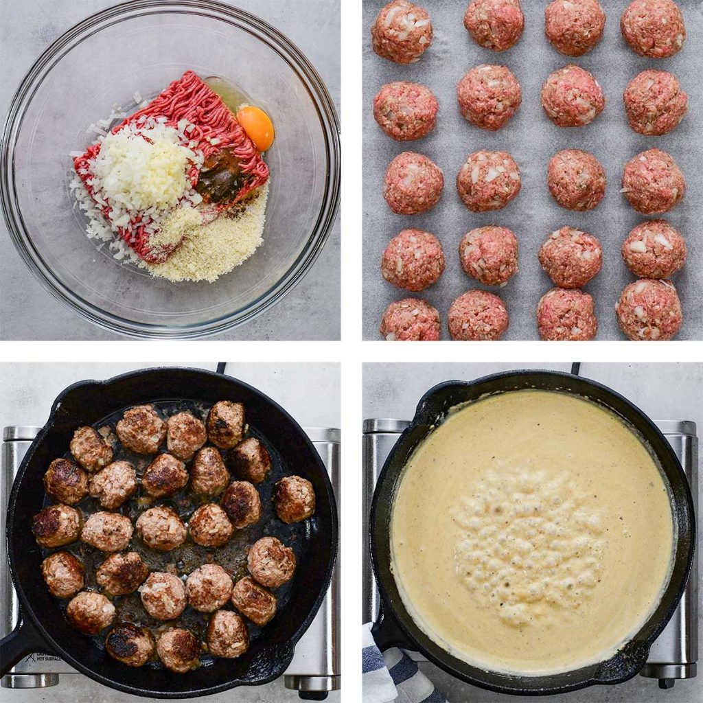 Four images show the steps to make Keto Swedish Meatballs