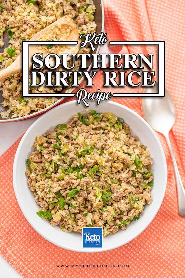 Keto Dirty Rice in a white bowl on an orange napkin