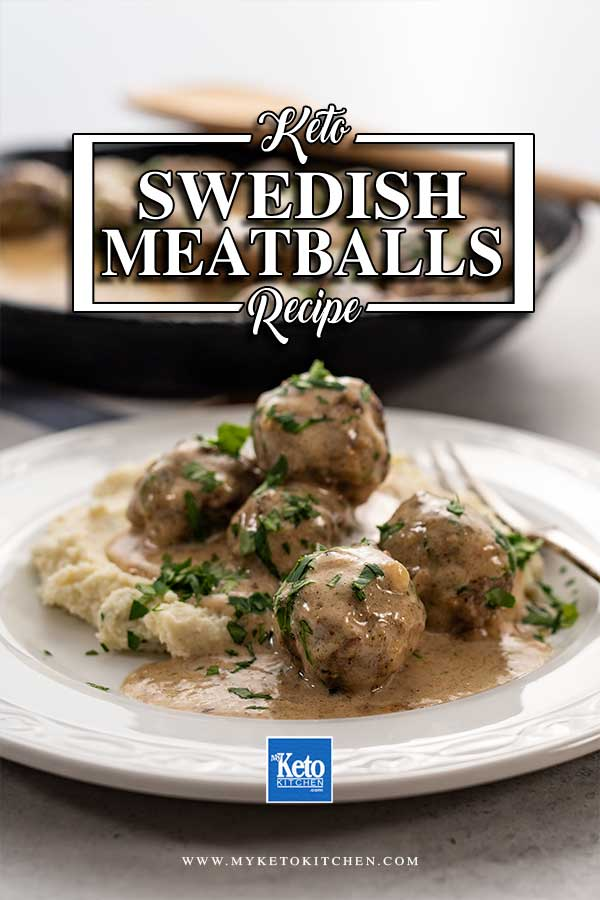 Keto Swedish Meatballs on a plate with cauliflower mash