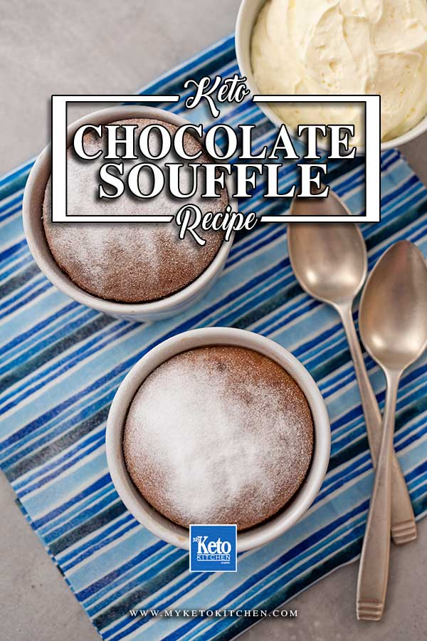 Keto Sugar-Free Chocolate Souffle on a striped blue napkin with 2 silver spoons