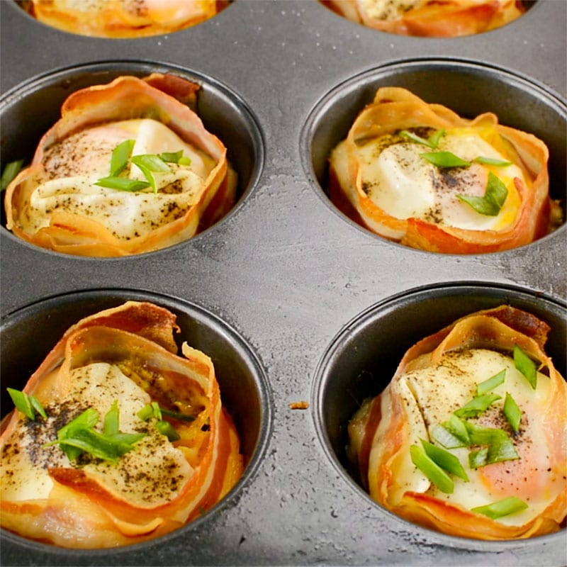 Baked Keto Pancetta Egg Cups in the pan