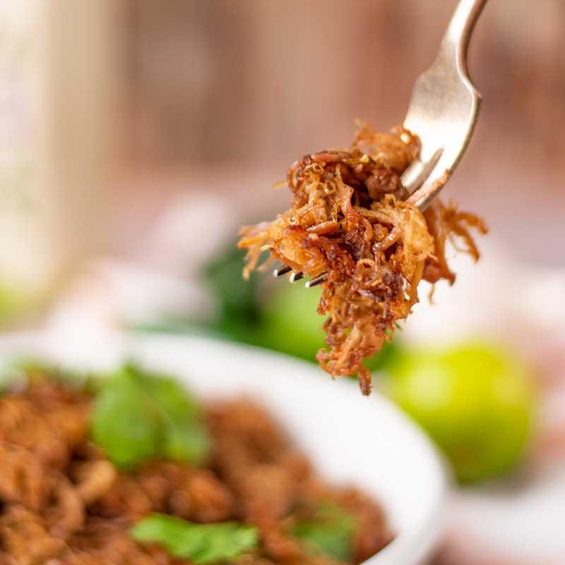 Keto Pork Carnitas on a fork