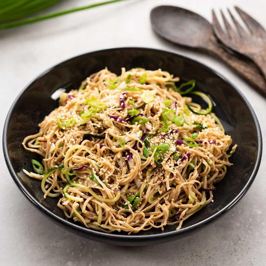 Keto Asian Noodle Salad in a black bowl