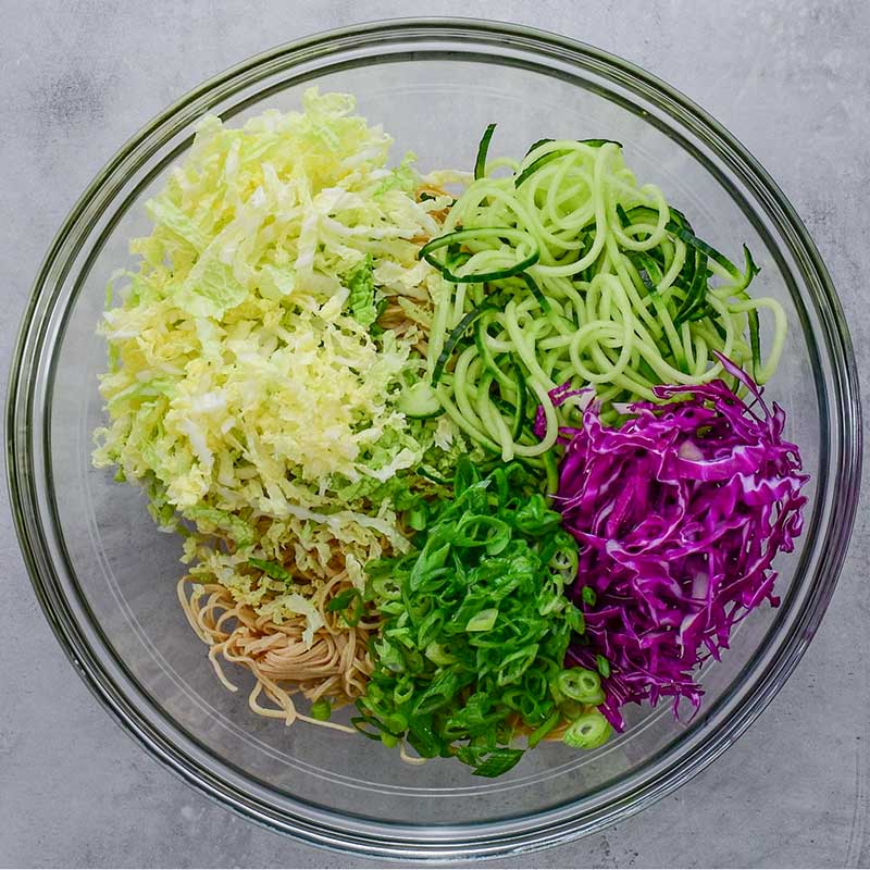Keto Asian Noodle Salad Ingredients in a mixing bowl