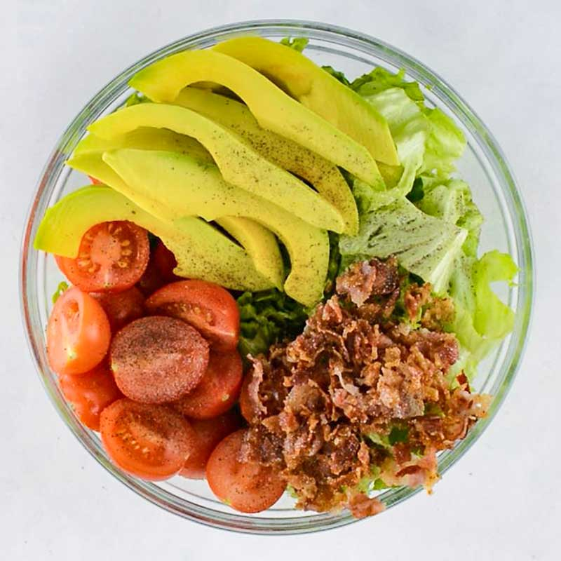 Keto BLT Salad in a mixing bowl