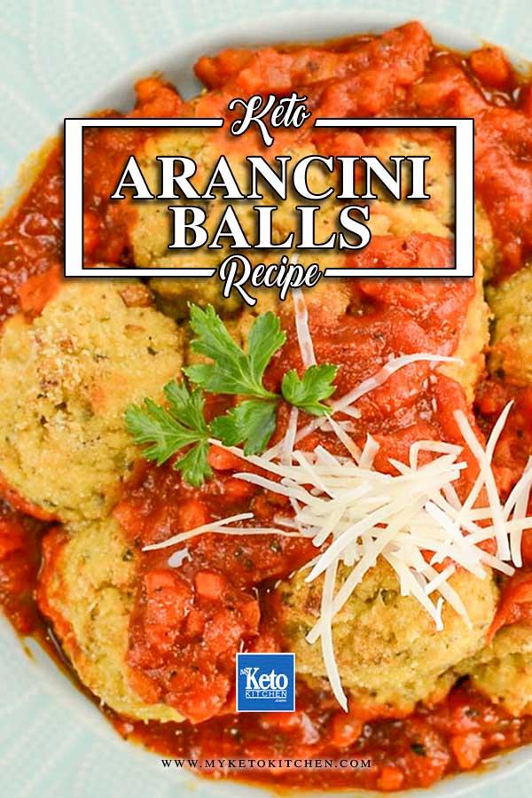 Keto Arancini Balls in a bowl with marinara sauce