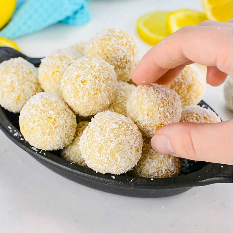 Keto Lemon Bliss Balls in a black dish