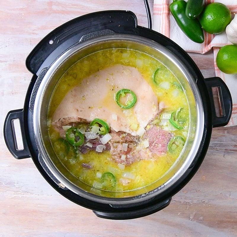 Keto Pork Carnitas Ingredients in an instant pot