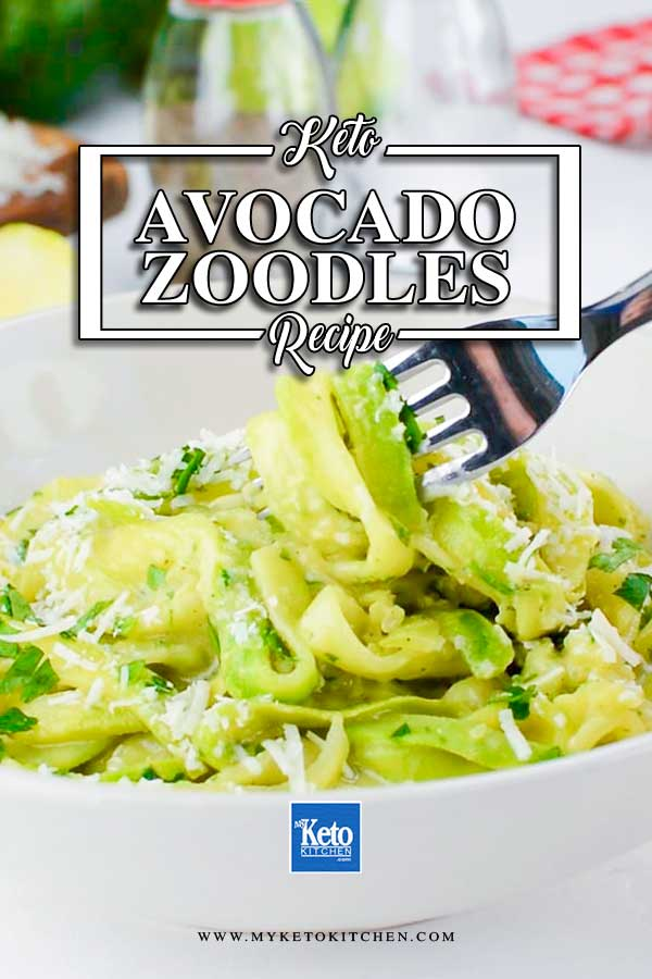 Zoodles wtih Avocado sauce in a white bowl