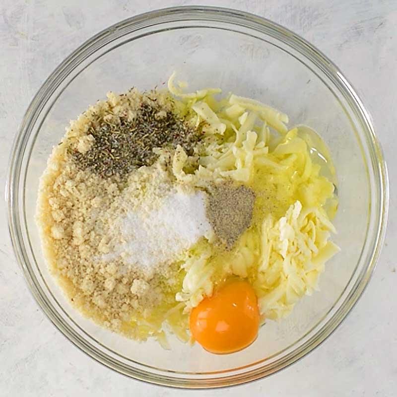 Keto Zucchini Breadstick ingredients in a bowl