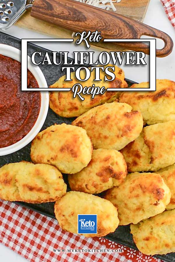 Keto Cauliflower Tots on a platter with marinara sauce