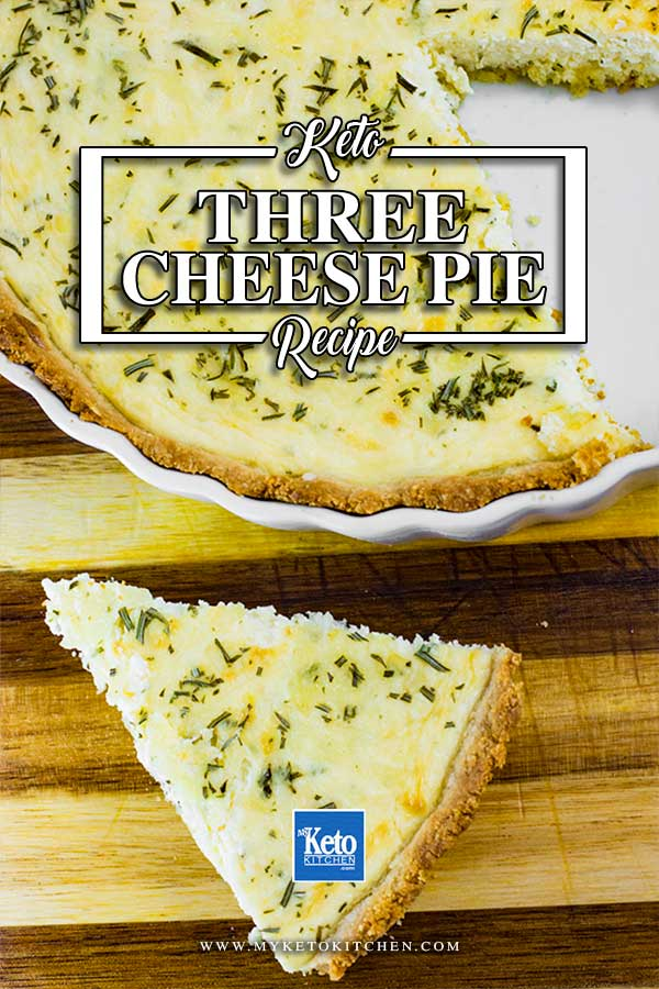Keto Three Cheese Pie with a slice removed