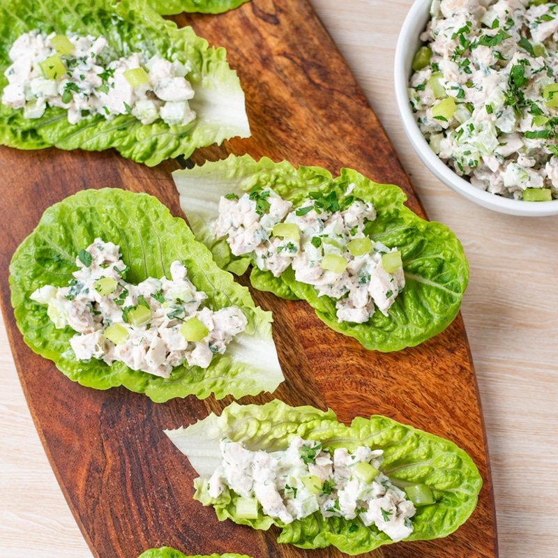 Keto Chicken Salad Wraps on a wooden platter