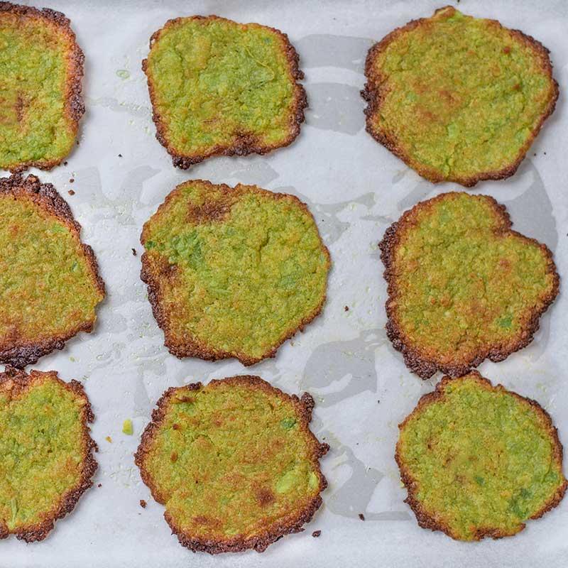 Keto Avocado Chips on a baking sheet