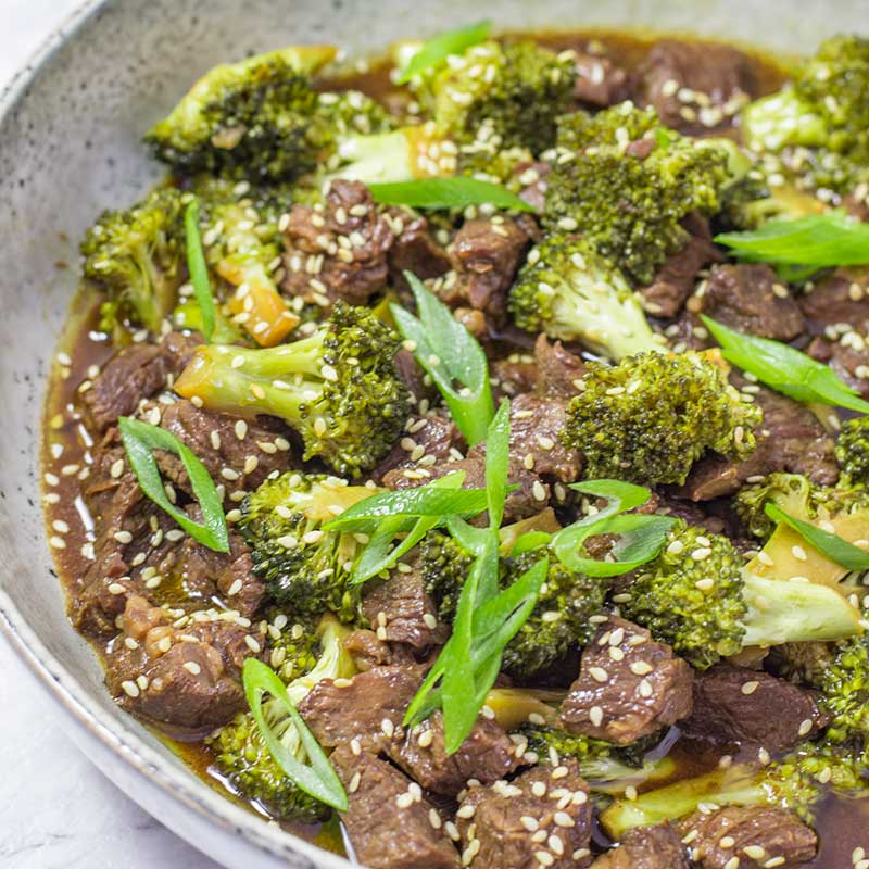 Keto Beef and Broccoli in a bowl