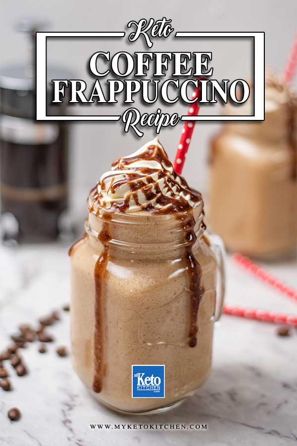 Keto Coffee Frappuccino topped with whipped cream and chocolate sauce in a glass