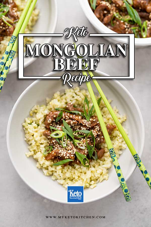 Keto Mongolian Beef in bowl with cauliflower rice