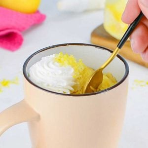 Keto Lemon Mug Cake in a pink mug
