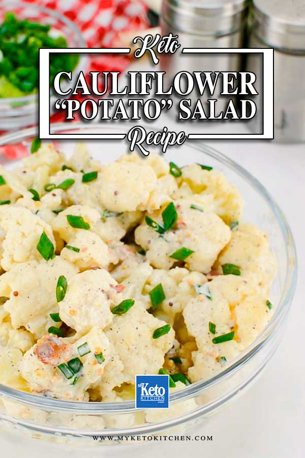 "Keto Cauliflower ""Potato"" Salad in a glass bowl"