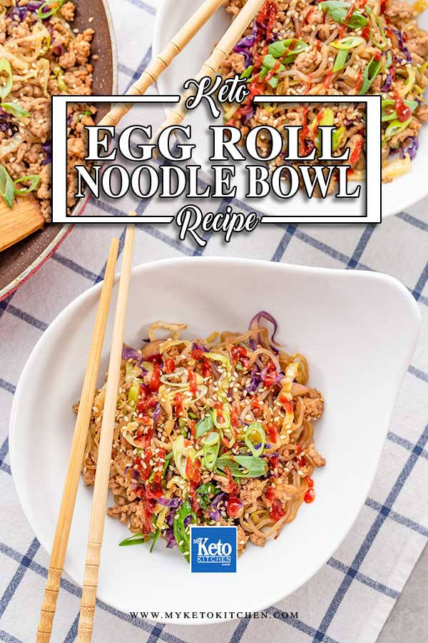 Keto Egg Roll Noodle Bowl in a white bowl on a checked cloth