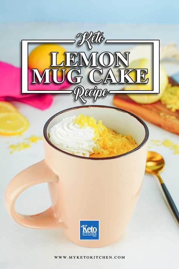 Keto Lemon Mug Cake in a pink mug