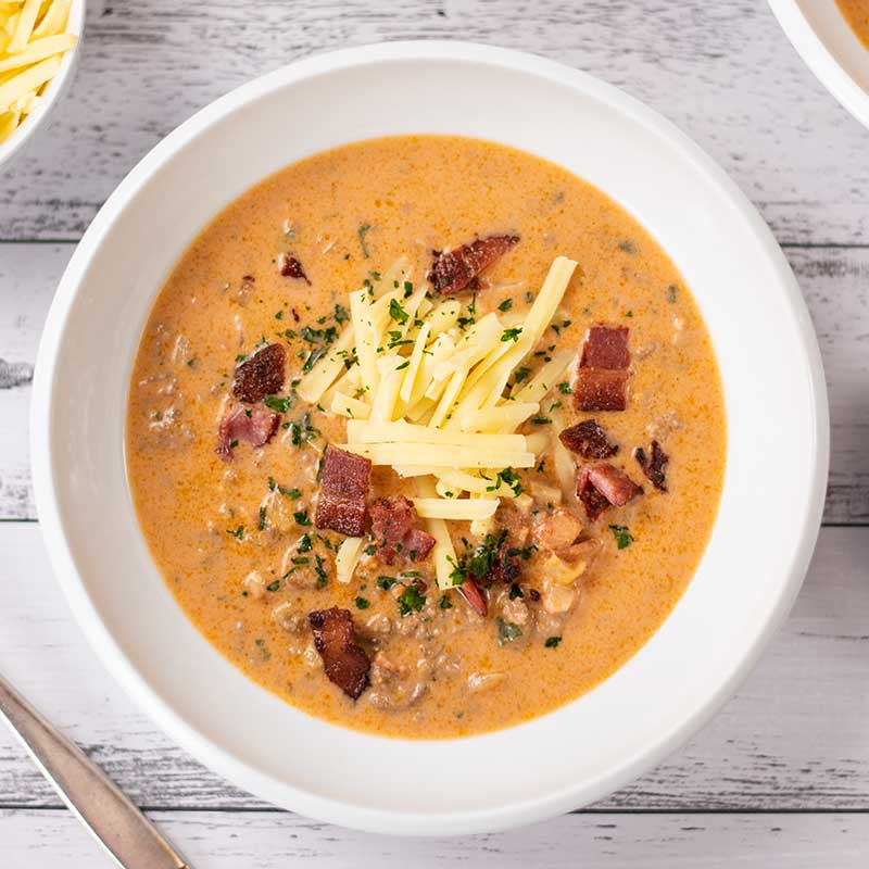How to make Keto Bacon Cheeseburger Soup
