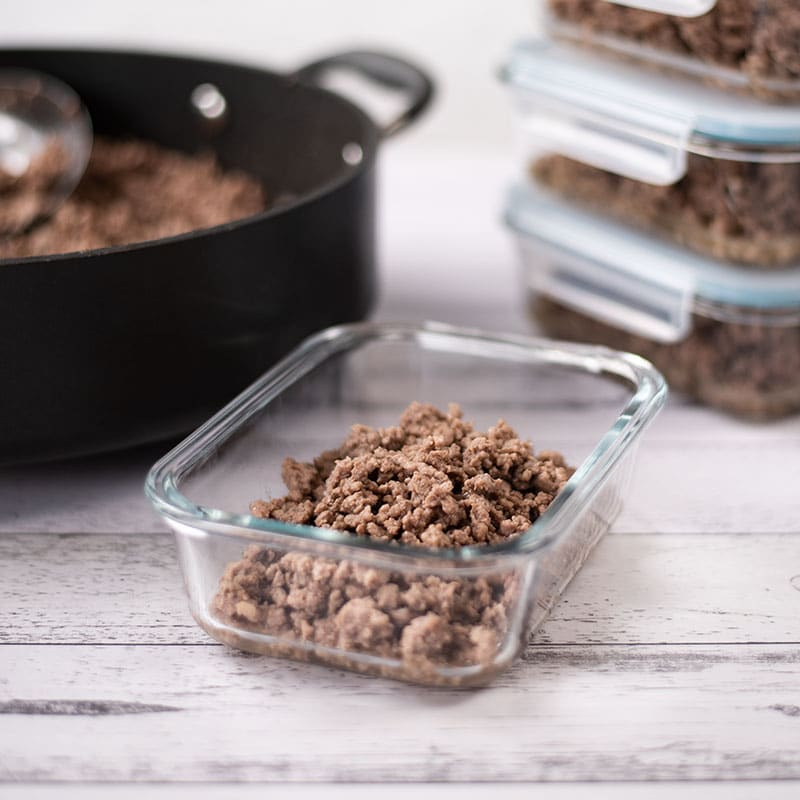 Keto Basic Ground Beef in containers for storage